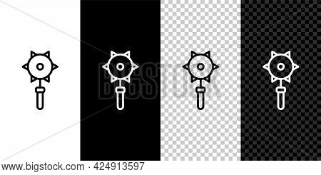 Set Line Medieval Chained Mace Ball Icon Isolated On Black And White, Transparent Background. Mediev