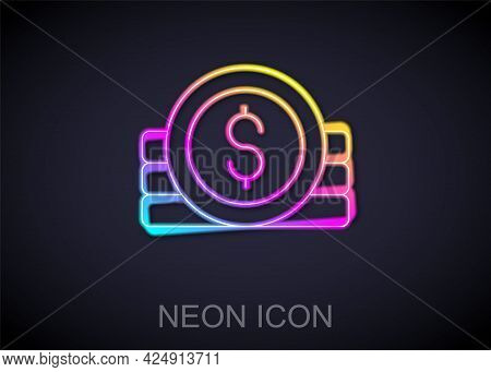 Glowing Neon Line Ancient Coin Icon Isolated On Black Background. Vector