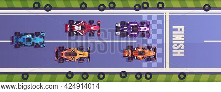 Race. Cartoon Formula One Competition. Top View Of Racing Cars Driving On Road. Bolides Crossing Fin