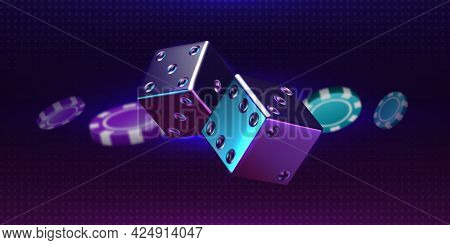 Casino Background. Realistic Thrown Pair Of Dice And Playing Chips. Luxury Gambling 3d Elements. Rol