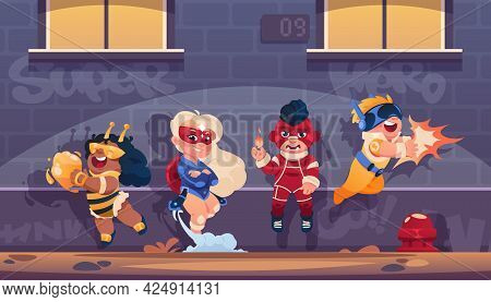 Superhero Kids Team. Cartoon Background With Children Cosplaying Comics Heroes In Funny Costumes And