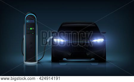 Electric Car Charge. Realistic Automobile Charging Battery At Station. Auto With Glowing Headlights