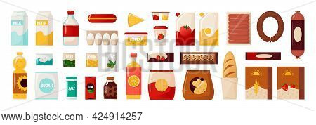 Common Goods. Cartoon Package With Everyday Food. Bottles Of Cooking Oil And Milk. Container For Egg