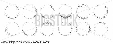 Circle Wreath Frame. Hand Drawn Floral Wedding Branch With Leaves. Elegant Decorative Elements Set.