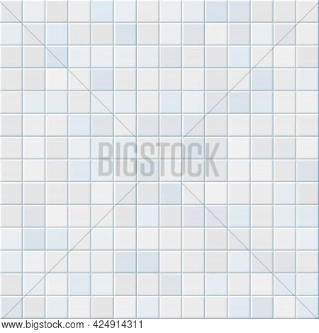 Bathroom Tile. Realistic White Kitchen Wall Cover. Seamless Ceramic Mosaic Pattern. Minimalistic Int