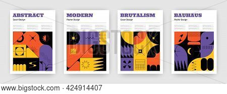 Brutalism Posters. Bauhaus Book Covers With Minimalistic Geometric Contemporary Shapes. Modern Style