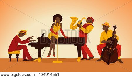Musician. Cartoon Jazz Band. Persons Perform On Stage. Woman Singing. Men Playing Acoustic Music Wit