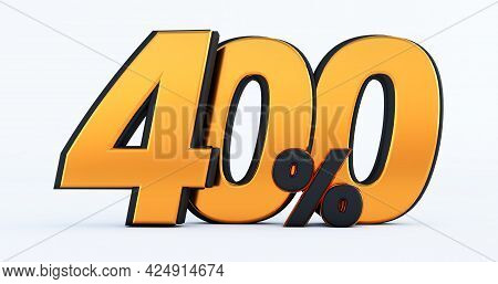 Four Hundred 400% Off On Sale. Gold Percent Isolated On White Background. 3d Render Of A Gold Four H