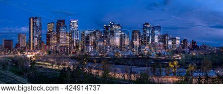 Panoramic Image Of The Skyline Of Calgary During Sunset  In Alberta, Canada
