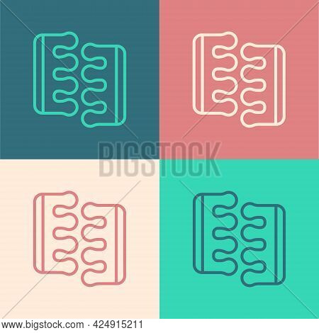 Pop Art Line Toe Separator For Pedicure Icon Isolated On Color Background. Vector
