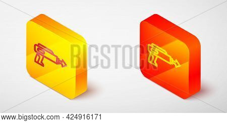 Isometric Line Fishing Harpoon Icon Isolated On Grey Background. Fishery Manufacturers For Catching