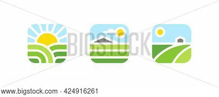 Farm Logo Mark Template Or Icon Of Rural Landscape With Sun, Field And Mountain. Set Of Modern Geome
