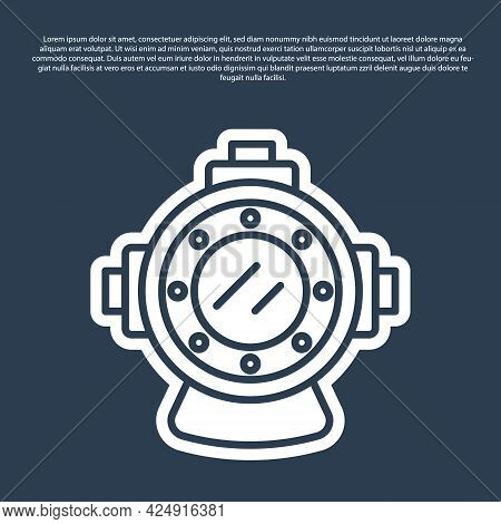 Blue Line Aqualung Icon Isolated On Blue Background. Diving Helmet. Diving Underwater Equipment. Vec
