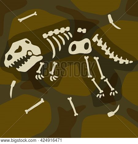 Dinosaur Skeleton. Archeology And Excavations. Cartoon Dino Illustration. Layers Of Earth And Soil.