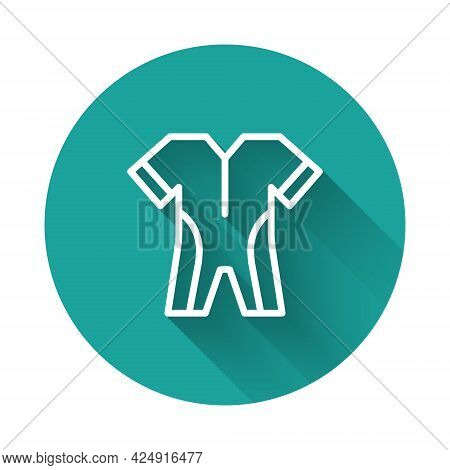 White Line Wetsuit For Scuba Diving Icon Isolated With Long Shadow Background. Diving Underwater Equ