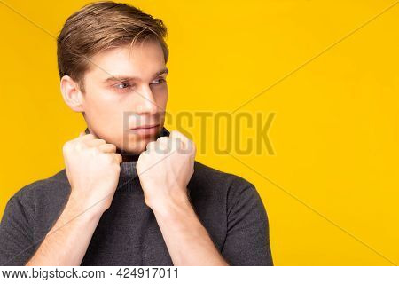 Portrait Young Handsome Caucasian Man Pose Look At Copy Space With Determined Studio Shot Isolated O