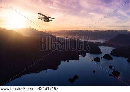 Vancouver Island, British Columbia, Canada Near Tofino And Ucluelet. Colorful Sunset Sky Art Render.