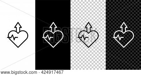 Set Line Heartbeat Increase Icon Isolated On Black And White, Transparent Background. Increased Hear