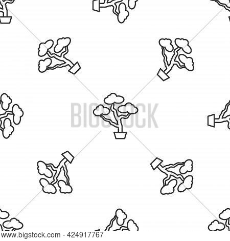 Grey Line Japanese Bonsai Tree Icon Isolated Seamless Pattern On White Background. Japanese Culture,