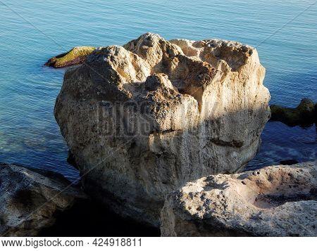 Rocks On The Shore Of The Caspian Sea. Kazakhstan. Mangistau Region. 08 October. 2019 Year.