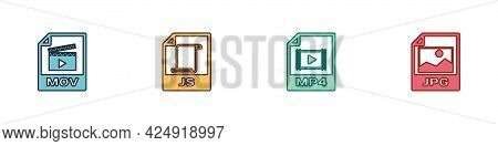 Set Mov File Document, Js, Mp4 And Jpg Icon. Vector