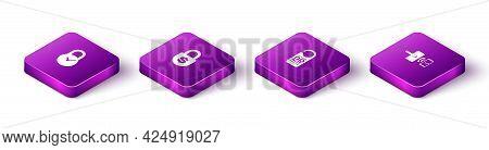 Set Isometric Padlock With Clock, Money, Please Do Not Disturb And Digital Door Wireless Icon. Vecto
