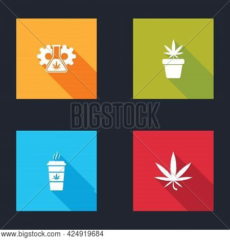 Set Test Tube With Marijuana, Marijuana Plant In Pot, Cup Coffee And Or Cannabis Leaf Icon. Vector