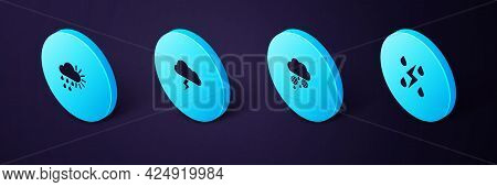 Set Isometric Storm, Cloud With Snow And Rain, And Cloudy Sun Icon. Vector