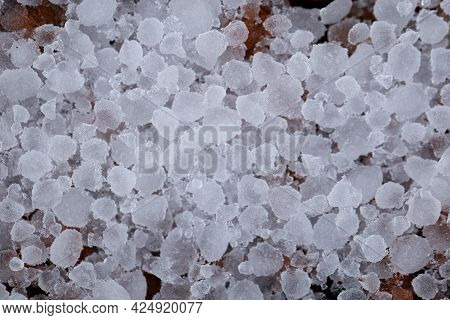Hail After An Ice Storm On The Street