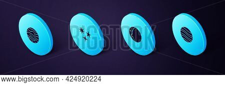 Set Isometric Planet Jupiter, Eclipse Of The Sun, Falling Star And Venus Icon. Vector
