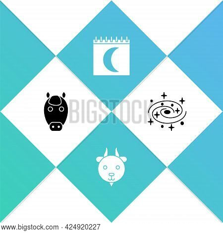 Set Horse Zodiac, Aries, Moon Phases Calendar And Milky Way Spiral Galaxy Icon. Vector