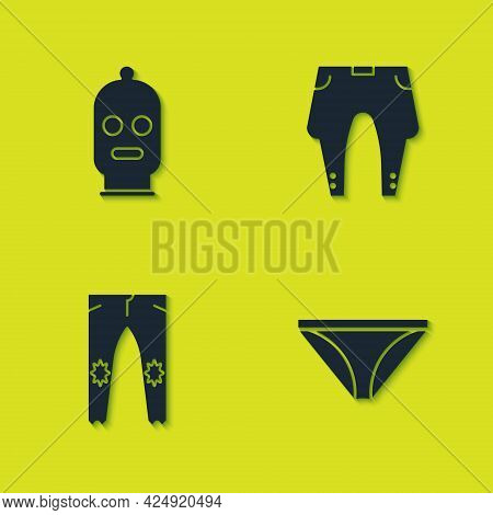Set Balaclava, Men Underpants, Pants And Icon. Vector