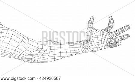 Hand Hold Some Tiny Or Thin Object. Vector Rendering Of 3d. Wire-frame Style. Hand Hold Somethin