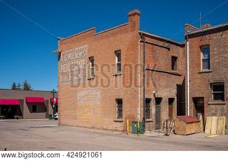 Fort Macleod, Alberta - June 13, 2021: Historic Building's In The Heart Of Fort Mcleod's Beautiful D