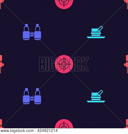 Set Hunter Hat With Feather, Binoculars, Target Sport And Torch Flame On Seamless Pattern. Vector