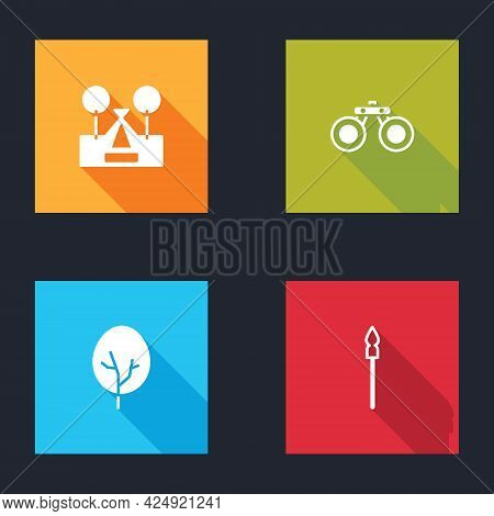 Set Tourist Tent, Binoculars, Tree And Medieval Spear Icon. Vector