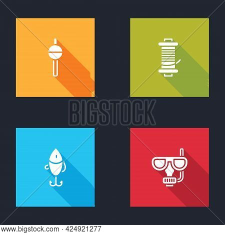 Set Fishing Float, Spinning Reel For Fishing, Lure And Diving Mask And Snorkel Icon. Vector