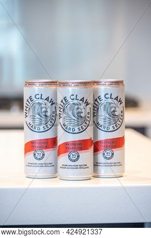 Calgary, Alberta - June 22, 2021: A Can Of White Claw Hard Seltzer Raspberry  Flavor With Condensati