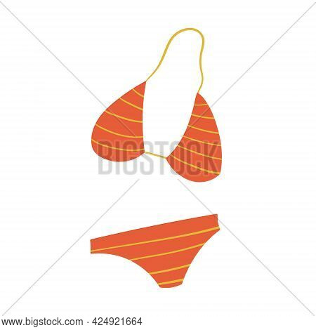 Vector Simple Isolated Summer Illustration. Women's Swimwear Or Split Bikini. Underwear For Swimming