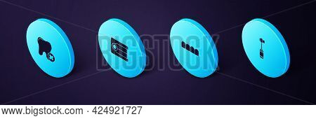 Set Isometric Toothbrush, Dentures Model, And With Caries Icon. Vector