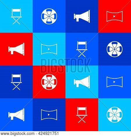 Set Director Movie Chair, Film Reel, Megaphone And Online Play Video Icon. Vector