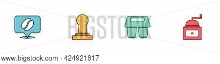Set Location With Coffee Bean, Coffee Tamper, Cup To Go And Manual Grinder Icon. Vector