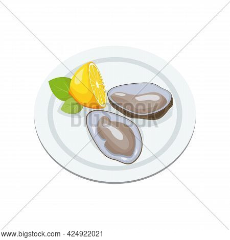 International Oyster Day. Clams In Shell, Open Oysters On Plate With Lemon. Seafood Menu. Cartoon Ve