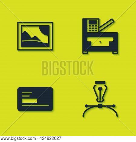 Set Picture Landscape, Fountain Pen Nib, Business Card And Copy Machine Icon. Vector