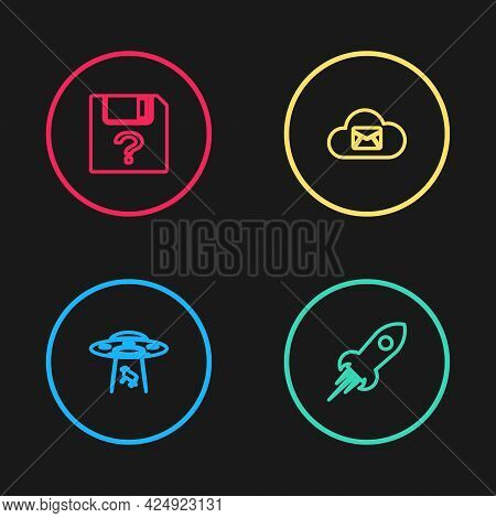 Set Line Ufo Abducts Cow, Rocket Ship With Fire, Cloud Mail Server And Unknown Document Icon. Vector