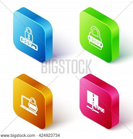 Set Isometric Line Password Protection, , Laptop With Password And Server Vpn Icon. Vector