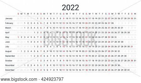 Linear 2022 Calendar. Planner Template For Year. Yearly Horizontal Calendar With 12 Months. Vector.