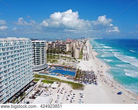 Cancun beach and Seadust Cancun Family Resort, The Royal Islander Resort aerial view, Cancun, Quintana Roo QR, Mexico.