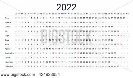 2022 Spanish Linear Calendar. Horizontal Planner For Year. Vector. Week Starts Monday. Annual Schedu