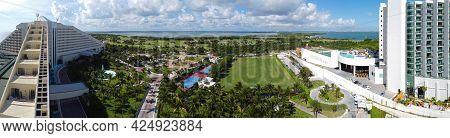 Cancun Iberostar Selection Cancun Resort, golf club and Laguna Nichupte Lagoon panorama aerial view, Cancun, Quintana Roo QR, Mexico.